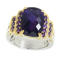 Michael Valitutti Palladium Silver Cushion and Round African Amethyst Ring - Size 7