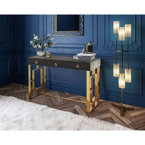 Audrey Dark Grey/Gold-tone Wood/Metal Lacquered Writing Desk