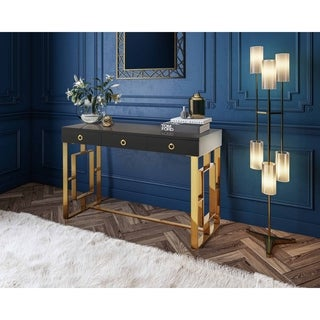 Audrey Grey/Gold-tone Wood/Metal Lacquered Writing Desk