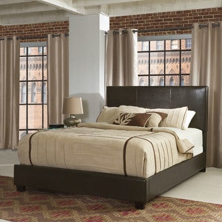 Crosley Furniture Drake Brown Wood King Bed with Faux Leather Upholstery