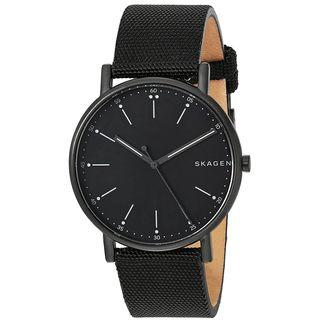 Skagen Men's SKW6370 'Signatur' Black Nylon and Leather Watch