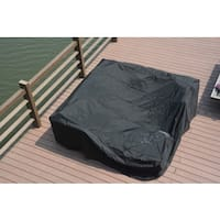 Direct Wicker Black 106-inch x 106-inch x 28-Inch Large Waterproof Outdoor Rain Cover for Rattan Cube Garden Furniture