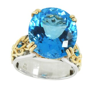 Michael Valitutti Palladium Silver Swiss Blue Topaz & Neon Apatite Ring - Size 7