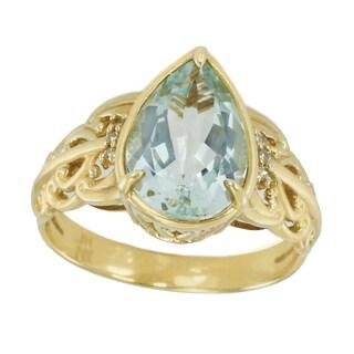 Michael Valitutti 14K Yellow Gold Pear Aquamarine & Diamond Ring - Size 7