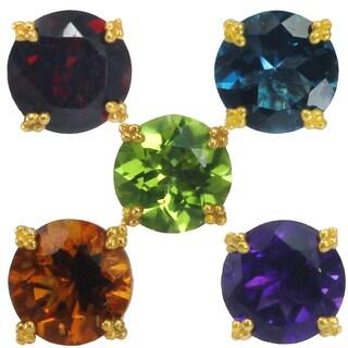 Michael Valitutti Palladium Silver Choice of Gemstone Round Stud Earrings