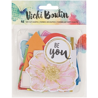 Vicki Boutin Mixed Media Ephemera Cardstock Die-Cuts 40/Pkg-W/Gold Foil