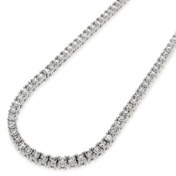 19b5b1af0b108 Sterling Silver 3mm Tennis Chain Crystal Clear CZ Stone Iced 925 White  Necklace 16