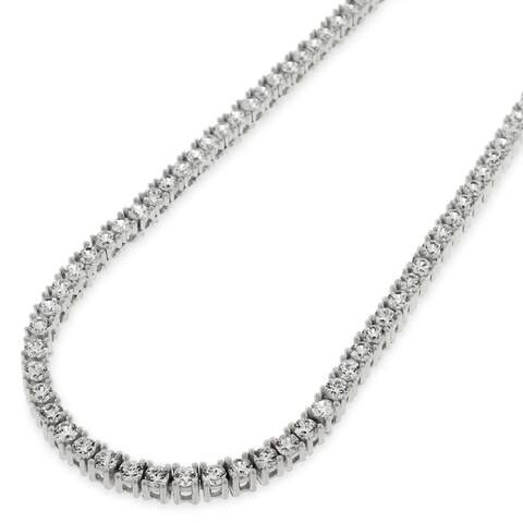 "Sterling Silver 3mm Tennis Chain Crystal Clear CZ Stone Iced 925 White Necklace 16"" - 30"", Men & Women, In Style Designz"