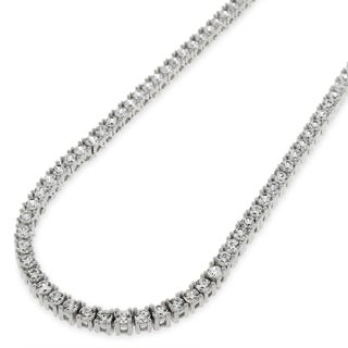.925 Sterling Silver 3mm Fancy Cubic Zirconia Round Cut Tennis Necklace Chain