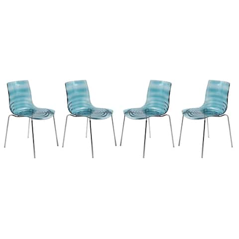 LeisureMod Astor Blue Plastic Chrome Base Dining Side Chair Set of 4