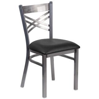 HERCULES Series Clear Coated 'X' Back Metal Restaurant Chair