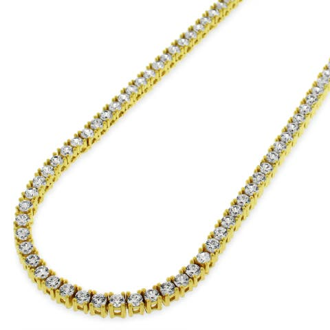 9af40e4b4 Sterling Silver 3mm Tennis Chain Crystal Clear CZ Stone Iced .925 Yellow  Gold Necklace 20