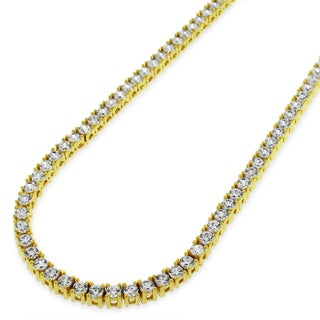.925 Sterling Silver 3mm Fancy Cubic Zirconia Round Cut Gold Plated Tennis Necklace Chain