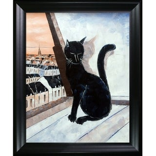 Atelier de Jiel 'Black Cat is a Paris Master' Hand Painted Framed Oil Reproduction on Canvas