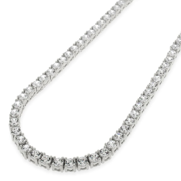 8643a6172d4c6 Shop Sterling Silver 3.5mm Tennis Chain Crystal Clear CZ Stone Iced ...
