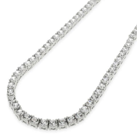 """Sterling Silver 3.5mm Tennis Chain Crystal Clear CZ Stone Iced 925 White Necklace 16"""" - 30"""", Men & Women, In Style Designz"""