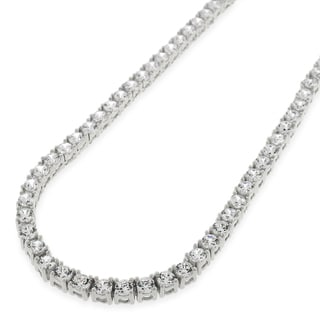 .925 Sterling Silver 3.5mm Fancy Cubic Zirconia Round Cut Rhodium Tennis Necklace Chain (Option: 26 Inch)