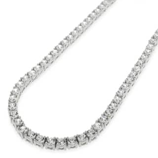 .925 Sterling Silver 3.5mm Fancy Cubic Zirconia Round Cut Rhodium Tennis Necklace Chain|https://ak1.ostkcdn.com/images/products/16079448/P22464537.jpg?impolicy=medium
