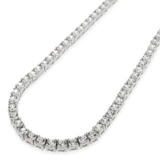 .925 Sterling Silver 3.5mm Fancy Cubic Zirconia Round Cut Rhodium Tennis Necklace Chain