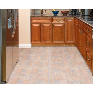 Tivoli Beige Terracotta Motif Center 12x12 Self Adhesive Vinyl Floor Tile - 45 Tiles/45 sq Ft.