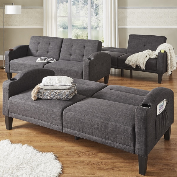 Love Sofa Dimensions: Shop Dominic Dark Grey Linen Cup Holder Futon Sofa INSPIRE