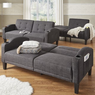 Dominic Dark Grey Linen Cup Holder Futon Sofa INSPIRE Q Modern Part 87