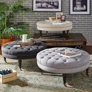 Solaine Tufted Linen Round Castered Round Ottoman Bench By INSPIRE Q Artisan