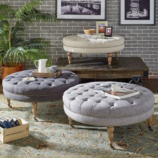 Solaine Tufted Linen Round Castered Round Ottoman Bench By