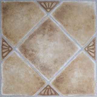 Tivoli Beige Clay Diamond with Accents 12x12 Self Adhesive Vinyl Floor Tile - 45 Tiles/45 sq Ft.