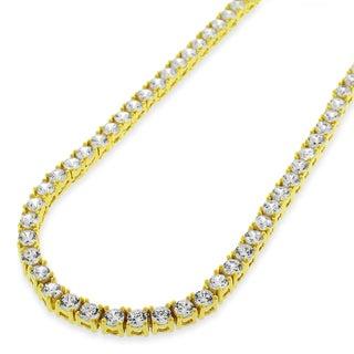 .925 Sterling Silver 3.5mm Fancy Cubic Zirconia Round Cut Gold Plated Tennis Necklace Chain