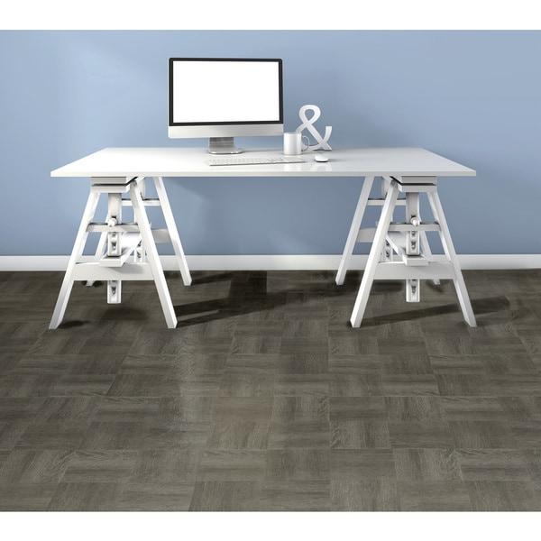 Shop Achim Tivoli Charcoal Grey Wood 12x12 Self Adhesive Vinyl Floor