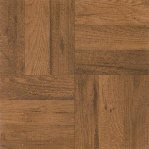 Achim Tivoli 3 Finger Med. Oak Parquet 12x12 Self Adhesive Vinyl Floor Tile - 45 Tiles/45 sq. ft.