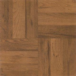 Tivoli 3 Finger Med. Oak Parquet 12x12 Self Adhesive Vinyl Floor Tile - 45 Tiles/45 sq Ft.