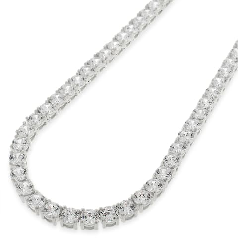 """Sterling Silver 4mm Tennis Chain Crystal Clear CZ Stone Iced 925 White Necklace 16"""" - 30"""", Men & Women, In Style Designz"""