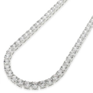 .925 Sterling Silver 4mm Fancy Cubic Zirconia Round Cut Rhodium Tennis Necklace Chain