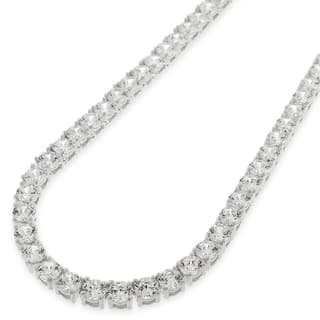 .925 Sterling Silver 4mm Fancy Cubic Zirconia Round Cut Rhodium Tennis Necklace Chain|https://ak1.ostkcdn.com/images/products/16079488/P22464556.jpg?impolicy=medium