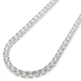 "Sterling Silver 4mm Brilliant-Cut Clear Round CZ Solid 925 White Tennis Necklace 16"" - 30"""