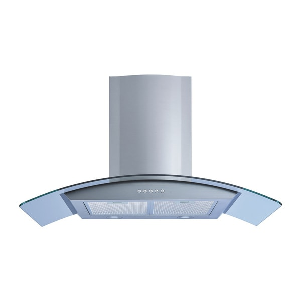 "Winflo O-W101A36 36"" Wall Mount Stainless Steel/Arched Tempered Glass Convertible Ducted/Ductless Range Hood"