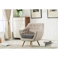 Boraam Kara Light Grey Wood Armchair with Dark Grey Seat