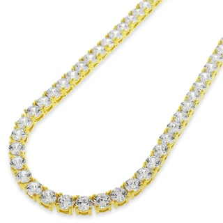 .925 Sterling Silver 4mm Fancy Cubic Zirconia Round Cut Gold Plated Tennis Necklace Chain