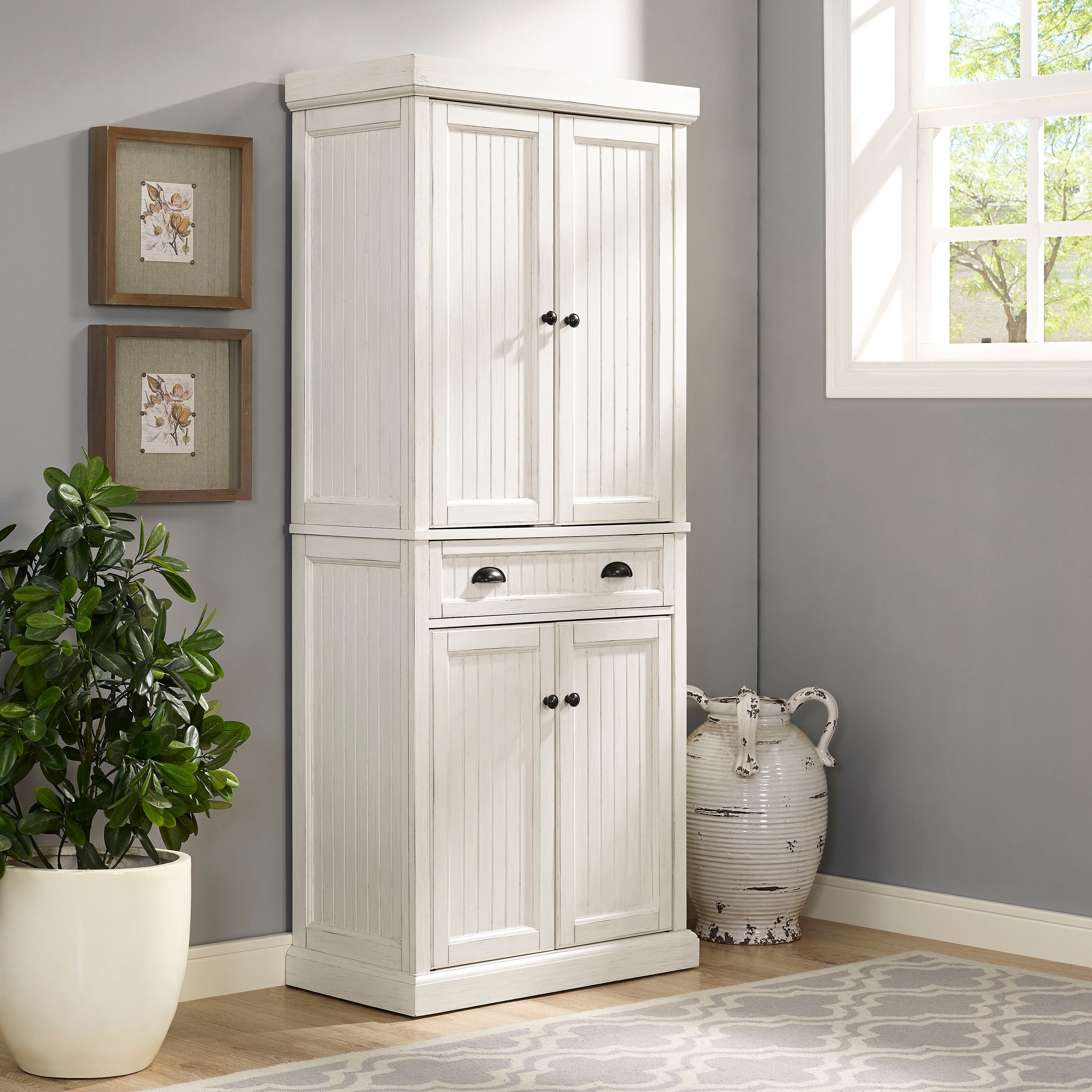 Crosley Furniture Seaside Kitchen Pantry in Distressed Wh...