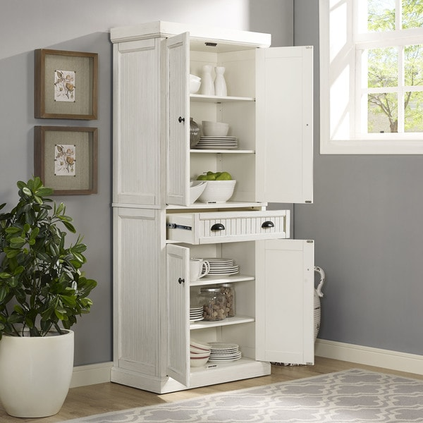Shop Seaside Kitchen Pantry In Distressed White Finish Free
