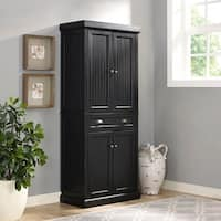 Seaside Kitchen Pantry in Distressed Black Finish