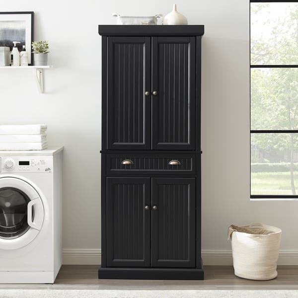 Seaside Kitchen Pantry In Distressed Black Finish Overstock 16079511