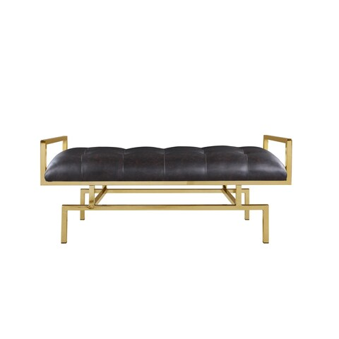 Chic Home Katharine PU Leather Tufted Seating Goldtone Metal Leg Bench - Brown