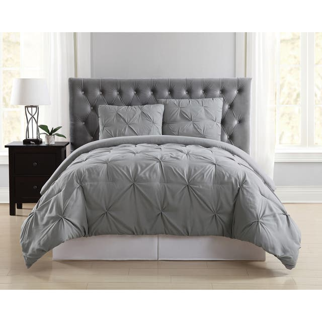 Truly Soft Pinch Pleat Solid 3-piece Microfiber Comforter Set - Grey - King - 3 Piece