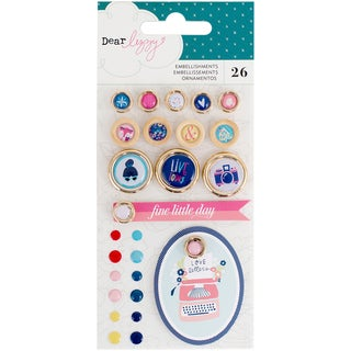 Dear Lizzy Lovely Day Embellishment Pack 26/Pkg-Enamel Dots, Buttons & Tags