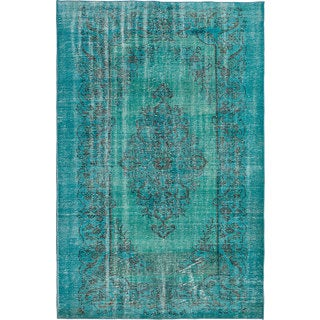 """Hand-knotted Vintage Turkish Overdyed Turquoise Wool Rug 5'9"""" x 9'2"""""""
