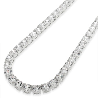 .925 Sterling Silver 5mm Fancy Cubic Zirconia Round Cut Rhodium Tennis Necklace Chain