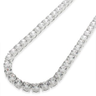 "Sterling Silver 5mm Brilliant-Cut Clear Round CZ Solid 925 White Tennis Necklace 20"" - 30"""